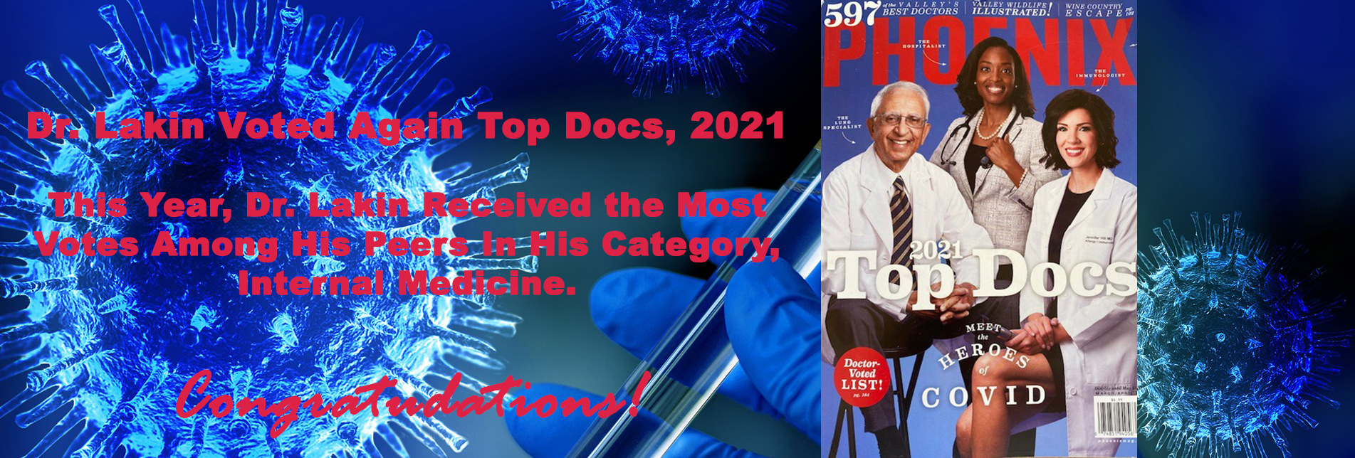 "Congratulations: Dr. Lakin Named ""Top Docs"" Again For 2021!"